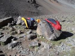 Sovsäckarna på luftning i camp Piedra Grande (stora stenen) 3500möh.