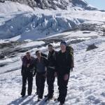 Fyra nöjda glaciärfarare
