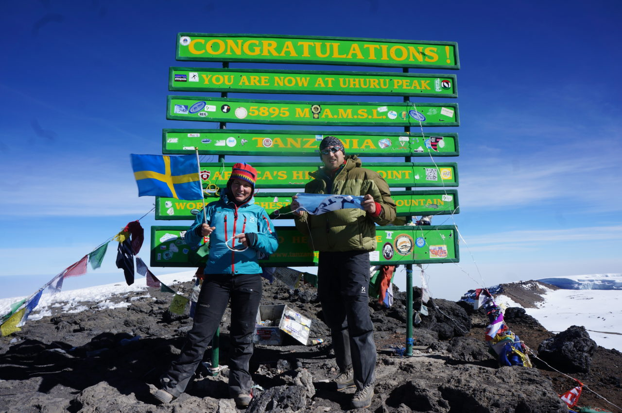 Team Lajt at the summit of Kilimanjaro
